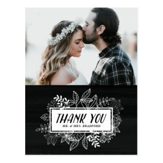 Rustic Chic White Flowers on Chalkboard Thank You Postcard