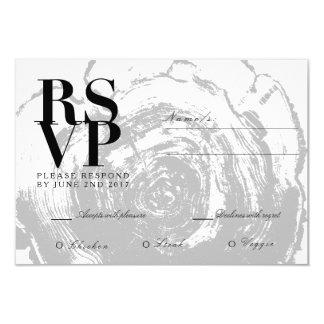 Rustic Chic Wood Slab | Wedding RSVP 9 Cm X 13 Cm Invitation Card