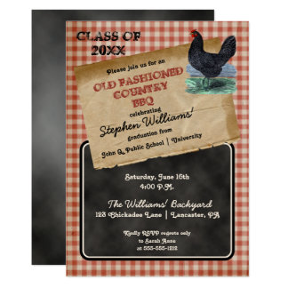 Rustic Chicken Cookout BBQ Graduation Party Card