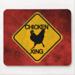 Rustic Chicken Crossing Sign Mousepad