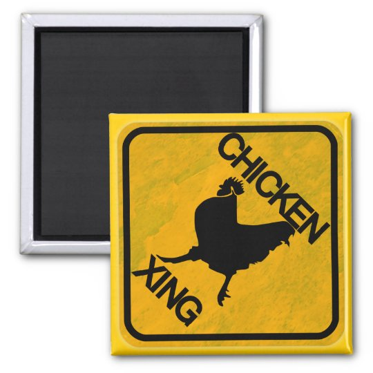 Rustic Chicken Crossing Sign Square Magnet