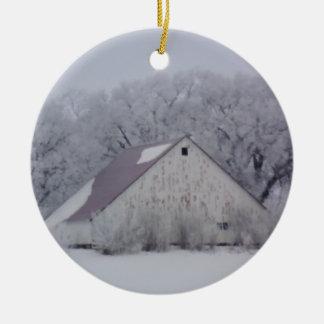 Rustic Chrismtas Barn | Winter Snow Christmas Ornament