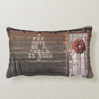 Rustic Christmas Graffiti Lumbar Cushion