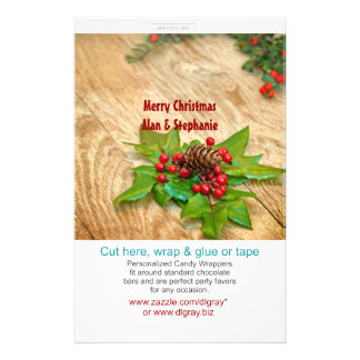 Rustic Christmas Holly Candy Wrappers Full Color Flyer