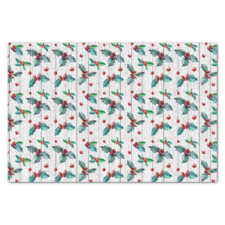 Rustic Christmas Holly On White Barn Wood Pattern Tissue Paper