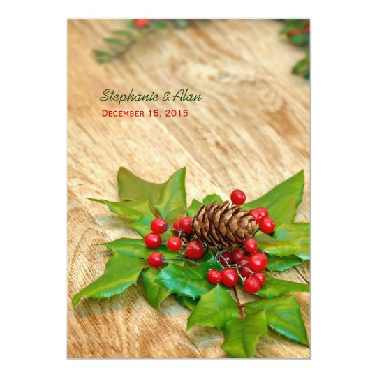 Rustic Christmas Holly Wedding Invitation