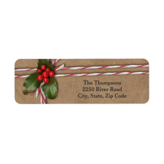 Rustic Christmas Kraft Paper with Holly Berries Return Address Label