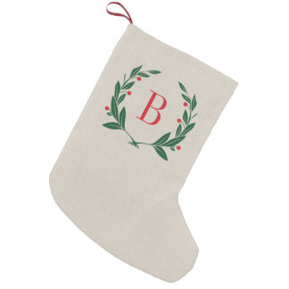 Rustic Christmas Laurel Wreath Monogram Small Christmas Stocking