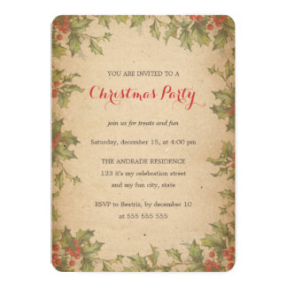 Rustic Christmas Party Vintage Holly Wreath Border 5x7 Paper Invitation Card