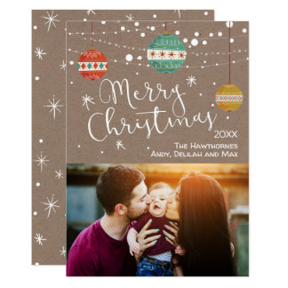 Rustic Christmas Photo Card with Ornaments