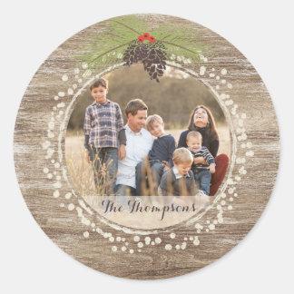 Rustic Christmas Pine Branch & Berries Wood Photo Round Sticker