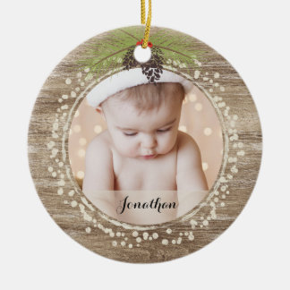 Rustic Christmas Pine Branch & Berries Woodgrain Christmas Ornament