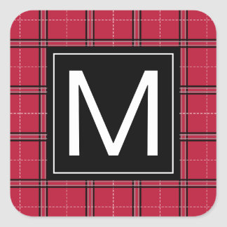 Rustic Christmas Red Black Plaid Modern Monogram Square Sticker