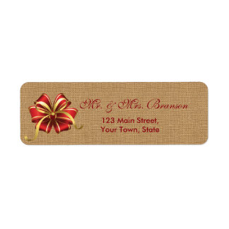 Rustic Christmas Red Bow on Burlap Monogram Return Address Label