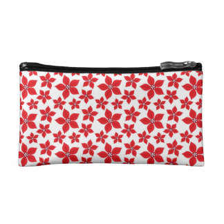 Rustic Christmas Red Poinsettia Pattern Cosmetic Bags