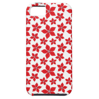 Rustic Christmas Red Poinsettia Pattern iPhone 5 Cases