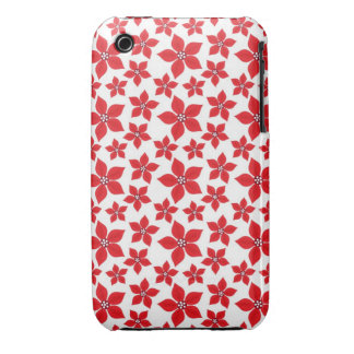 Rustic Christmas Red Poinsettia Pattern iPhone 3 Case-Mate Case