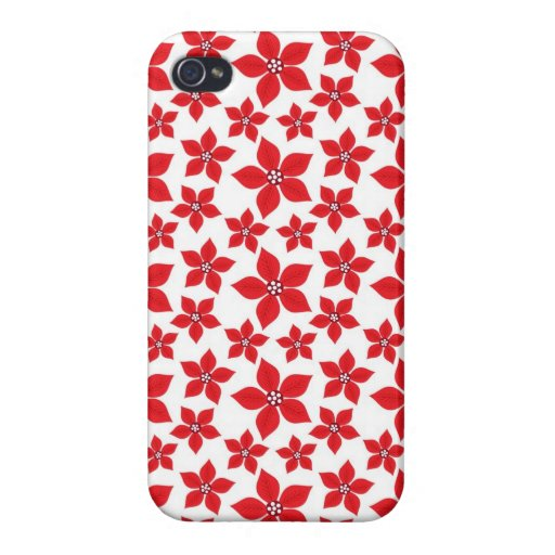 Rustic Christmas Red Poinsettia Pattern iPhone 4/4S Case