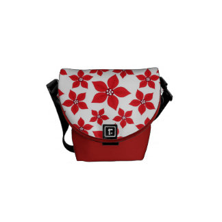 Rustic Christmas Red Poinsettia Pattern Courier Bags