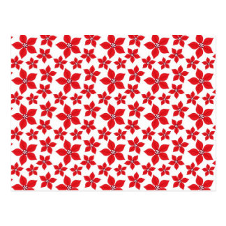 Rustic Christmas Red Poinsettia Pattern Post Cards