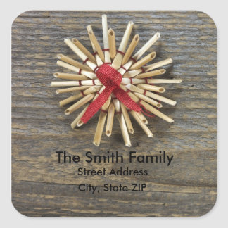 Rustic Christmas Sticker with Address