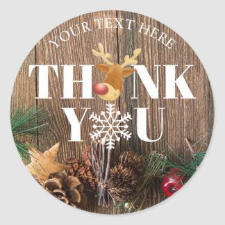 Rustic Christmas Thank You Deer and Snowflake Classic Round Sticker