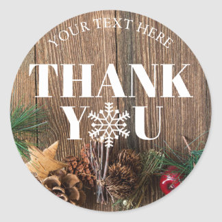 Rustic Christmas Thank You Snowflakes Classic Round Sticker