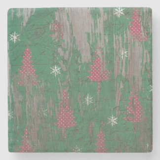 rustic Christmas Tree Holiday Coaster