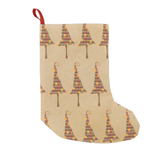 Rustic Christmas Trees Pattern Small Christmas Stocking