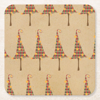 Rustic Christmas Trees Pattern Square Paper Coaster