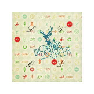 rustic,christmas,vintage,pattern,hipster,deer,cute stretched canvas prints