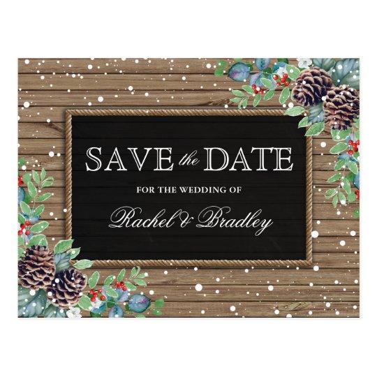 Rustic Christmas Winter Wedding Save the Date Postcard