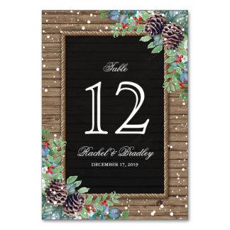 Rustic Christmas Winter Wedding Table Numbers