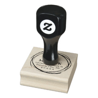 Rustic Circle Monogram Return Address Rubber Stamp