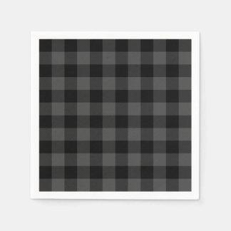 Rustic classic grey and black plaid paper serviettes