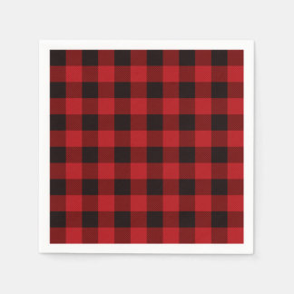 Rustic classic red plaid disposable serviette