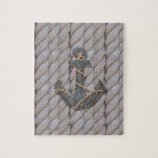rustic coastal beach nautical rope wood anchor jigsaw puzzle