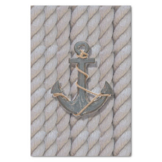 rustic coastal beach nautical rope wood anchor tissue paper