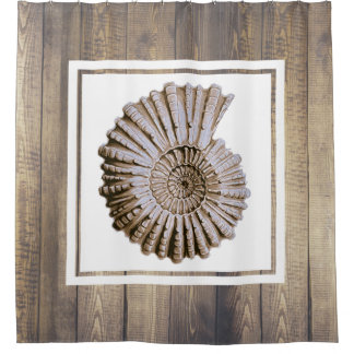 Rustic Coastal Spiral Seashell & Driftwood Planks Shower Curtain