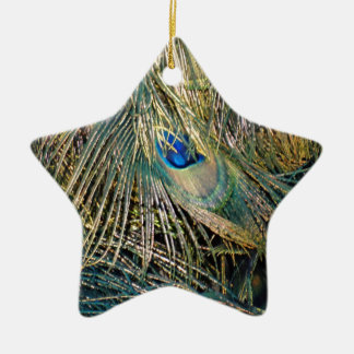 Rustic Color Peafowl Feathers Christmas Ornament