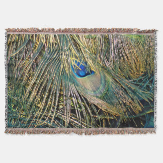 Rustic Color Peafowl Feathers Throw Blanket
