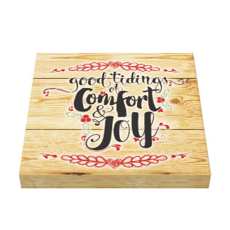 Rustic Comfort & Joy Christmas Canvas