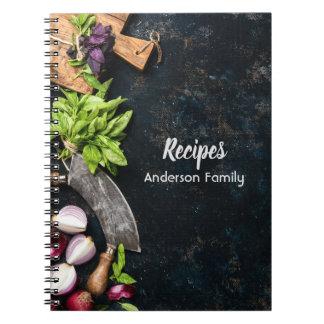 Rustic cookbook notebook dark canvas herbs food