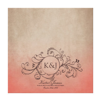 Rustic Coral and Beige Bohemian Guest Book Canvas Canvas Print