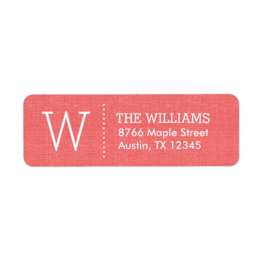 Rustic Coral Custom Monogram Return Address Label