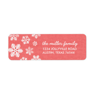Rustic Coral Snowflakes Address Labels