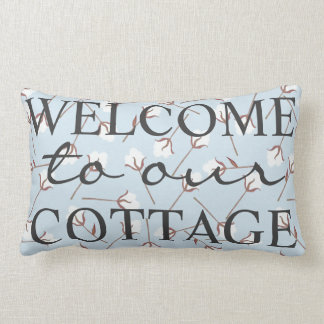 Rustic Cotton Welcome To Our Cottage - Family Name Lumbar Cushion