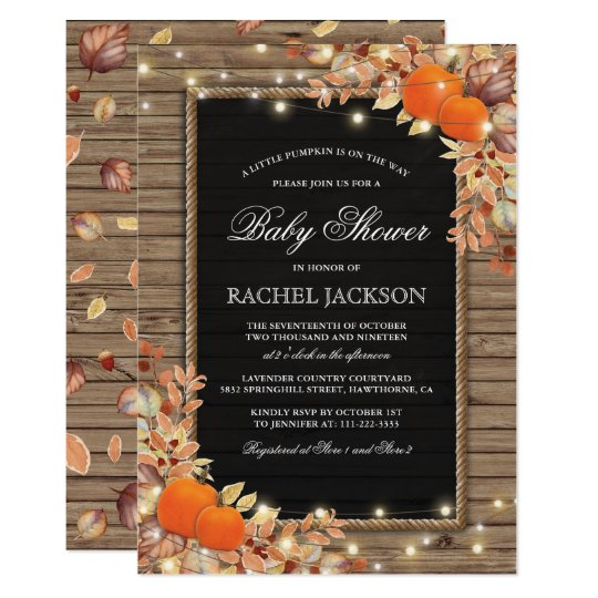 Rustic Country Autumn Fall Baby Shower Card