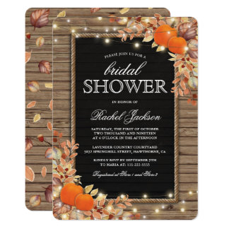 Rustic Country Autumn Fall Bridal Shower Card
