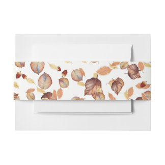 Rustic Country Autumn Fall Leaves and Acorns Invitation Belly Band
